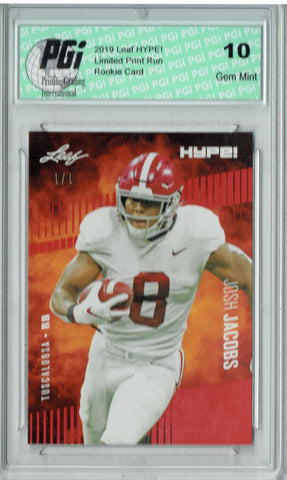 Josh Jacobs 2019 Leaf HYPE! #21 Red Blank Back 1 of 1 Rookie Card PGI 10