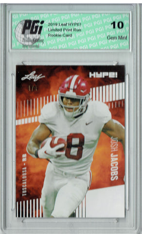 Josh Jacobs 2019 Leaf HYPE! #21 White Blank Back 1 of 1 Rookie Card PGI 10
