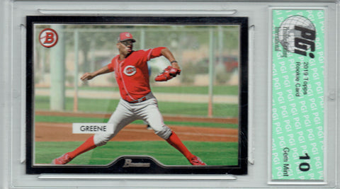 Hunter Greene 2019 Topps #17 55 Bowman SP 2500 Made Rookie Card PGI 10