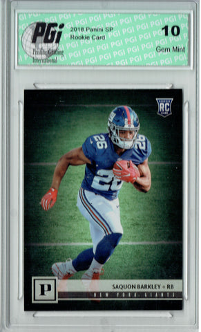 Saquon Barkley 2018 Panini #313 Limited Print Rookie Card PGI 10