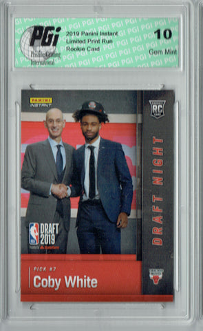 Coby White 2019 Panini Instant #DN-CW 1 of  141 Made Rookie Card PGI 10