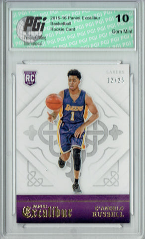D'Angelo Russell 2015 Excalibur #177 #12 of 25 Made Rookie Card PGI 10
