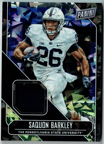 Saquon Barkley 2018 Panini Cracked Ice Patch 3/25 Rookie Card New York Giants SB
