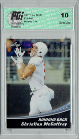 Christian McCaffrey 2017 Leaf Lim #1 Silver Blank Back 7 Made Rookie Card PGI 10