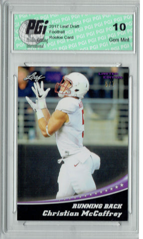 Christian McCaffrey 2017 Leaf Blank Back #1 Purple Jersey 5/7 Rookie Card PGI 10