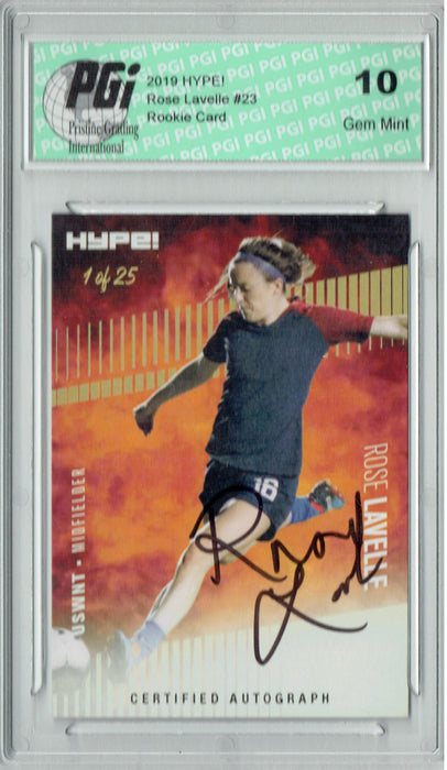 Rose Lavelle 2019 HYPE #23 Gold 1 of 25 Auto JSA Rookie Card PGI 10