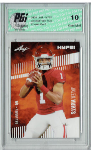 ~ Jalen Hurts 2020 Leaf HYPE! #28 Only 5000 Made Rookie Card PGI 10