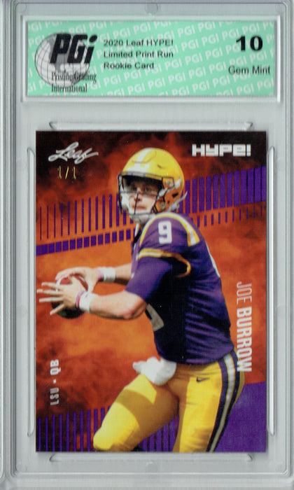 Joe Burrow 2020 Leaf HYPE! #30 Purple Blank Back 1 of 1 Rookie Card PGI 10
