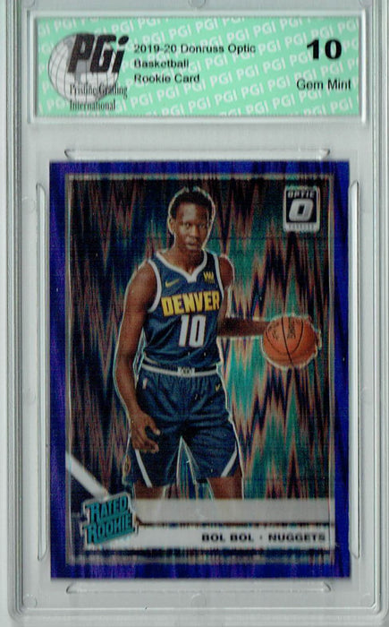 Bol Bol 2019 Optic #162 Purple Shock SP Rookie Card PGI 10