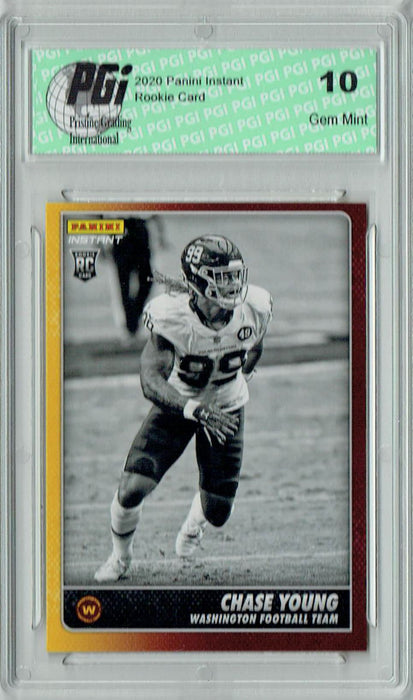 Chase Young 2020 Panini Instant Black & White #BW36 1 of 518 Rookie Card PGI 10