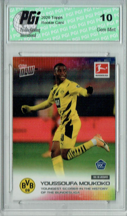 Youssoufa Moukoko 2020 Topps Now #71 1 of 6,170 Made Rookie Card PGI 10