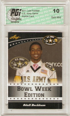 Odell Beckham Jr. 2011 Leaf U.S. Army High School 1st Rookie Card Ever PGI 10
