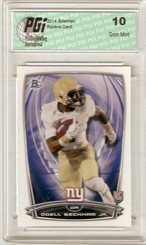 Odell Beckham Jr. 2014 Bowman White Football #8 Giants Rookie Card PGI 10