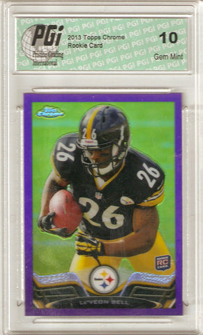 Le'Veon Bell 2013 Topps Chrome Purple REFRACTOR Only 499 Made Rookie Card PGI 10