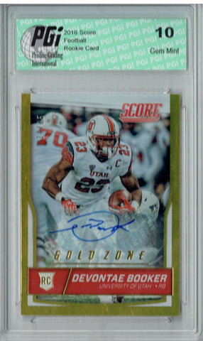 Devontae Booker 2016 Score Gold Zone #346 Auto, #14/25 Rookie Card PGI 10