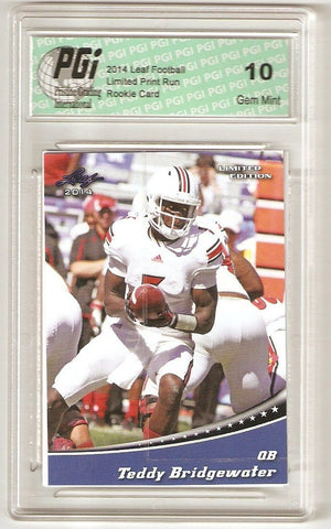 Teddy Bridgewater 2014 Leaf Limited Edition #3 Blue Rookie Card PGI 10