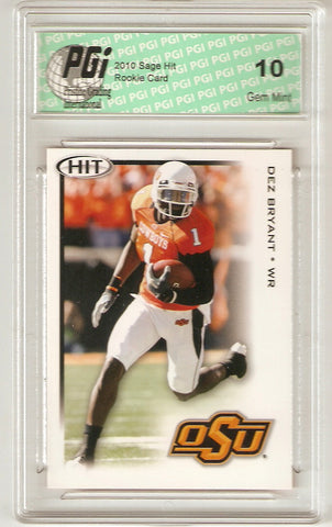 Dez Bryant 2010 Sage Hit #100 Rookie Card PGI 10 Dallas Cowboys