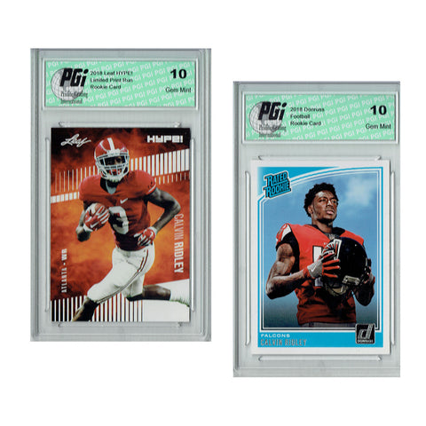 Calvin Ridley 2018 Rookie Cards 2-Pack Donruss #311 Leaf HYPE! #8 PGI 10