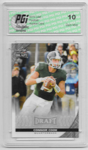 Connor Cook 2016 Leaf Draft #17 Rookie Card PGI 10 Michigan St. Spartans