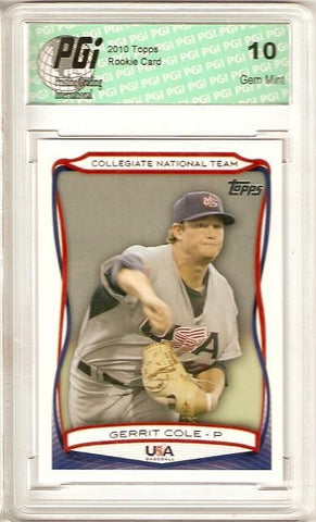 Gerrit Cole 2010 Topps #USA-25 Rookie Card PGI 10