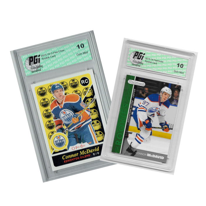 Connor McDavid O-Pee-Chee & Green Parkhurst 2-Pack Rookie Cards PGI 10