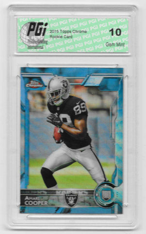 Amari Cooper 2015 Topps Chrome Blue Wave Refractor Rookie Card #115 PGI 10