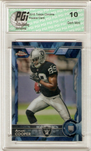 Amari Cooper 2015 Topps Chrome Blue Diamond Refractor Rookie Card #115 PGI 10