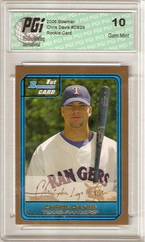 Chris Davis Gold SP 2006 Bowman Draft Picks #DP29 1st Rookie Card PGI 10