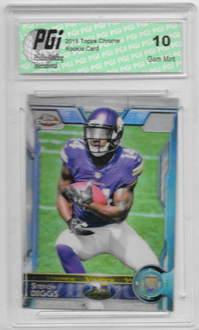 Stefon Diggs 2015 Topps Chrome Refractor Rookie Card #141 PGI 10
