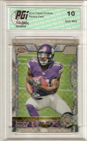 Stefon Diggs 2015 Topps Chrome Xfractor Rookie Card #141 PGI 10