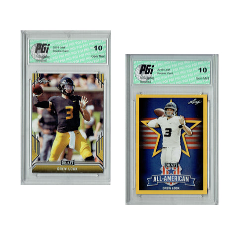 Drew Lock 2019 Leaf Draft #26 & #75 Gold SP Rookie Card 2-Card Bundle PGI 10