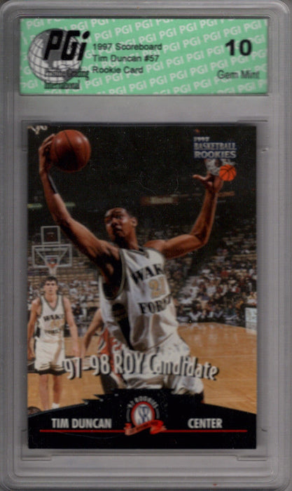 TIM DUNCAN 1997 Scoreboard #57 Rookie Card PGI 10 Spurs!!