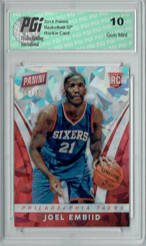 Joel Embiid 2014 Panini Cracked Ice #29 #6/25 Made Rookie Card PGI 10