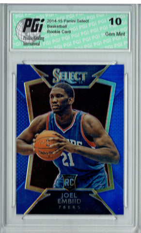 Joel Embiid 2014 Panini Select #90 Blue Refractor, 249 Made Rookie Card PGI 10