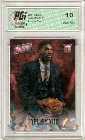 Joel Embiid 2014 Panini National #35 Cracked Ice 25 Made Rookie Card PGI 10