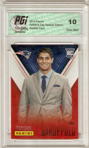 Jimmy Garoppolo 2014 Panini Super Short Print Only 599 Made Rookie Card PGI 10