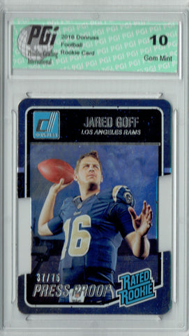 Jared Goff 2016 Donruss Press Proof #372 SP, 75 Made Rookie Card PGI 10