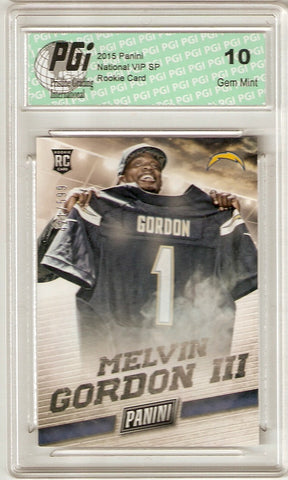 Melvin Gordon 2015 Panini National Only 599 Made Rookie Card PGI 10