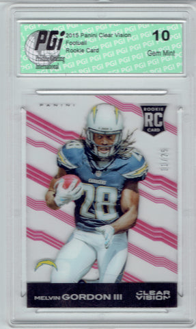 Melvin Gordon 2015 Panini Clear Vision Rookie Card #11/25 Made PGI 10