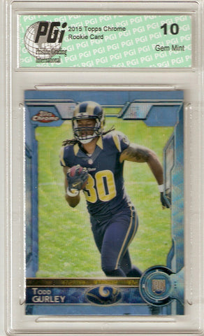 Todd Gurley 2015 Topps Chrome Blue Wave Refractor Rookie Card #103 PGI 10