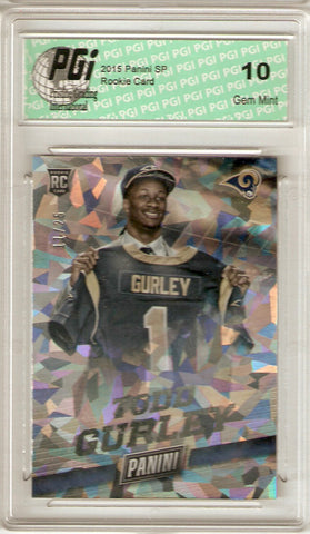 2015 Panini Cracked Ice Rookie Card #31 Only 25 Made Todd Gurley PGI 10
