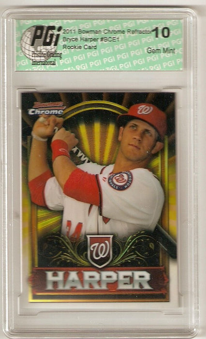 @@@ Bryce Harper 2011 Bowman Chrome Gold Refractor Rookie Card PGI 10 Exclusive