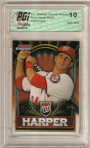 Bryce Harper 2011 Bowman Chrome Red Refractor Rookie Card PGI 10 Exclusive