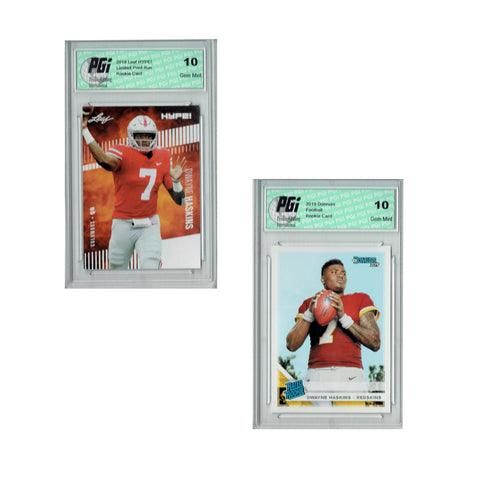 Dwayne Haskins Donruss #301 & Leaf Hype #20A Rookie Card 2-Pack PGI 10