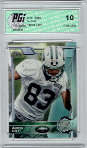 Austin Hill 2015 Topps Football #484 New York Jets Rookie Card PGI 10