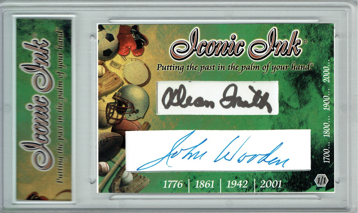 John Wooden Dean Smith 2017 Dual Iconic Ink Signed Cut Auto 1/1 Card JSA