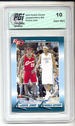 LeBron James Carmelo Anthony Rookie Review card PGI 10