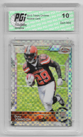 Duke Johnson 2015 Topps Chrome #140 Prism Refractor Rookie Card PGI 10