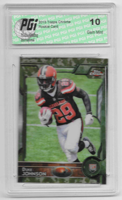 Duke Johnson 2015 Topps Chrome Camo Refractor 499 Made Rookie Card PGI 10