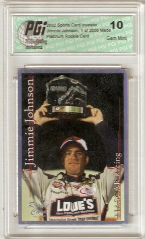 2002 Jimmie Johnson Sports Card Investor #29 SCI Platinum 1/2000 PGI 10